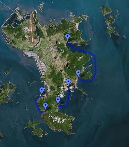 2008舟山海洋皮划艇测试线路图(朱家尖岛)