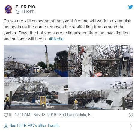 """美国佛州码头现""""最昂贵""""大火 超2000万美元游艇被毁"""