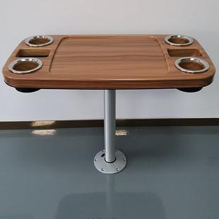 游艇房车船舶配件,长方形ABS桌面,木纹阳台桌子,轻型户外防晒茶几