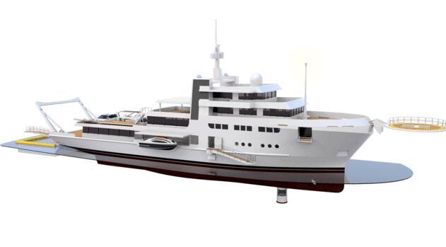 揭示65米探险游艇的两种设计概念